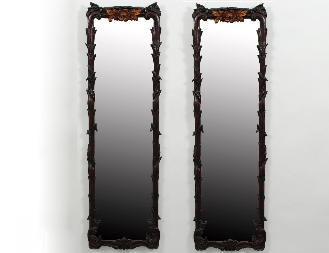 376: PAIR OF PARCEL GILT AND PAINTED WOOD MIRRORS