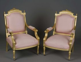 PAIR OF LOUIS XVI STYLE GILT FAUTEUILS