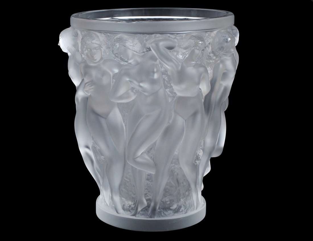 """448: LALIQUE MOLDED AND FROSTED CRYSTAL """"BACCHANTES"""" VA"""