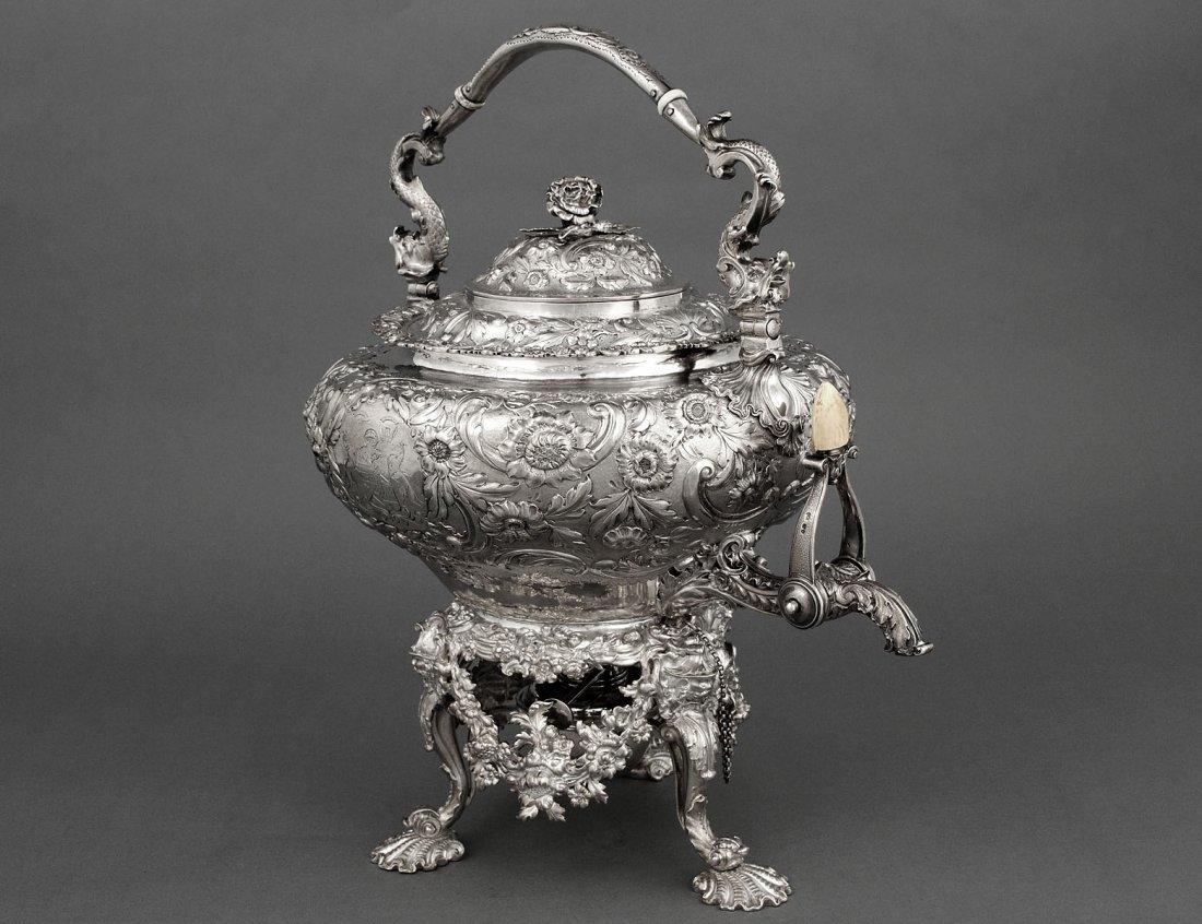 456: SUPERB GEORGE IV PAUL STORR STERLING SILVER TEA KE