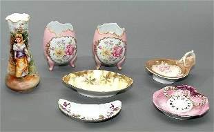Seven Pieces Hand Painted Signed Porcelain