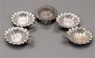 Five Gorham Sterling Silver Leaf Shape Nut Dishes