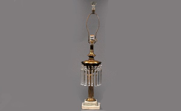 16: Antique Oil Lamp Electrified with Prisms