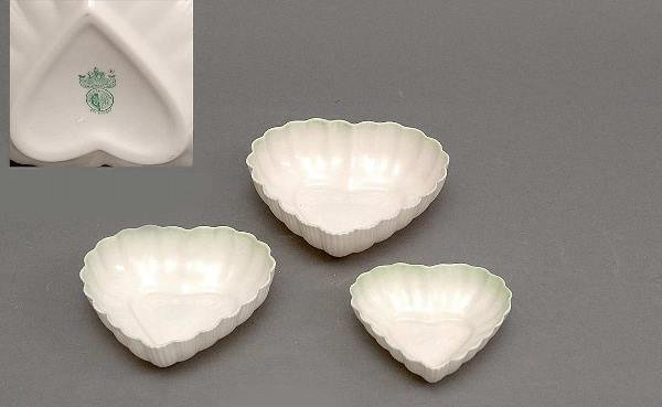 18: Three Pieces Belleek Heart Nut Dishes