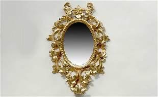 Antique Italian Giltwood Oval Mirror Scroll and Lea