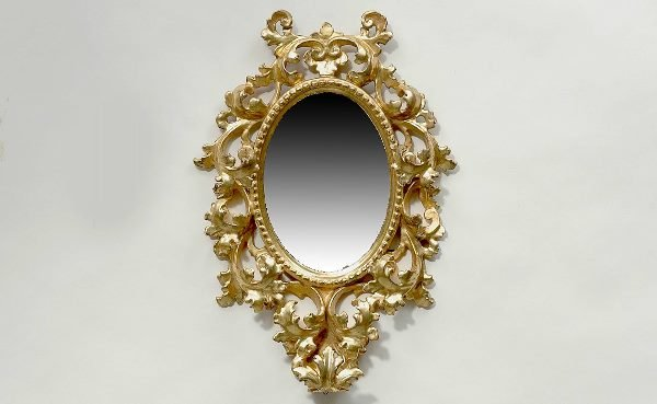 20: Antique Italian Giltwood Oval Mirror Scroll and Lea