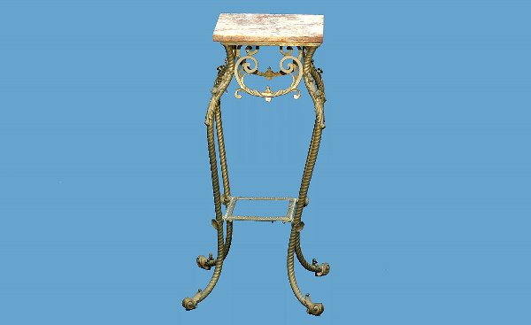 21: Victorian Marble Top Brass Plant Stand