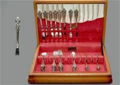222: 48 Pcs Wallace Grand Baroque Sterling Flatware Set