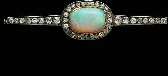 241: Antique Russian Gold Opal and Diamond Bar Pin
