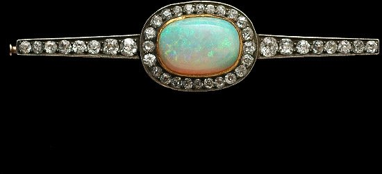 241: Antique Russian Gold Opal and Diamond Bar Pin