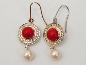 PAIR OF CORAL, PEARL AND DIAMOND EARRINGS