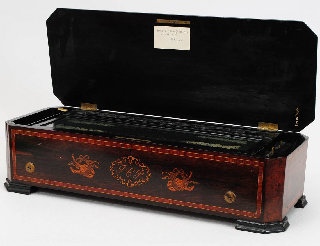 100: INLAID ROSEWOOD CASED CYLINDER MUSIC BOX