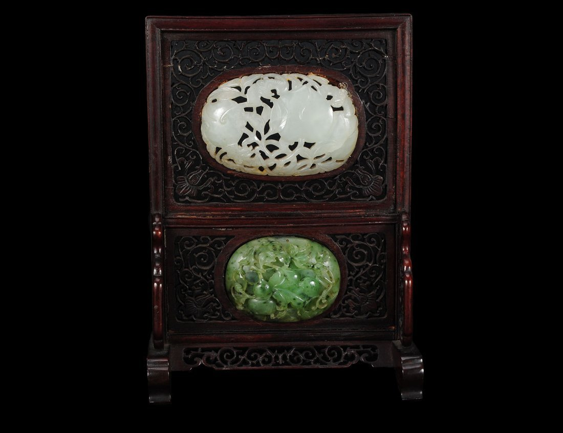 329: CARVED JADE AND WOOD TABLE SCREEN