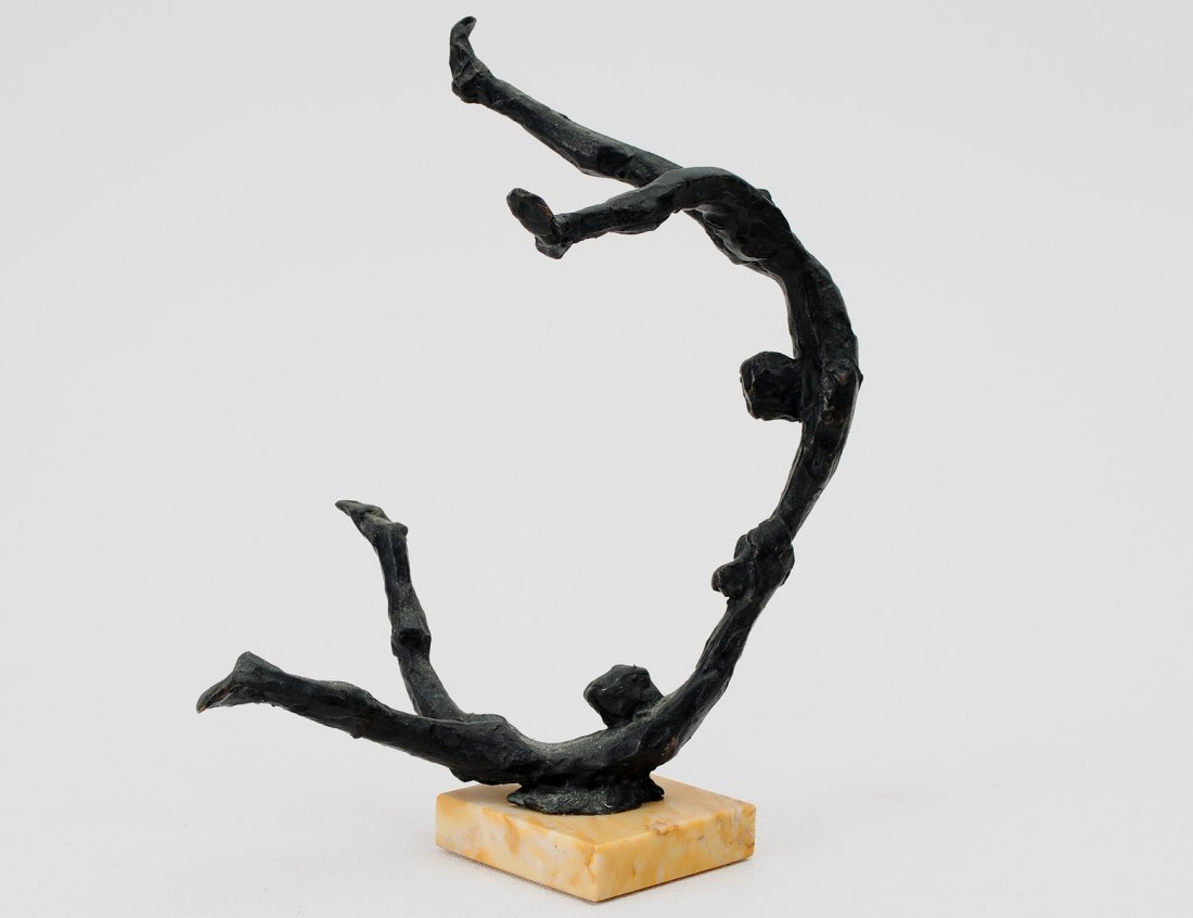 14: PATINATED BRONZE GROUP OF ACROBATS