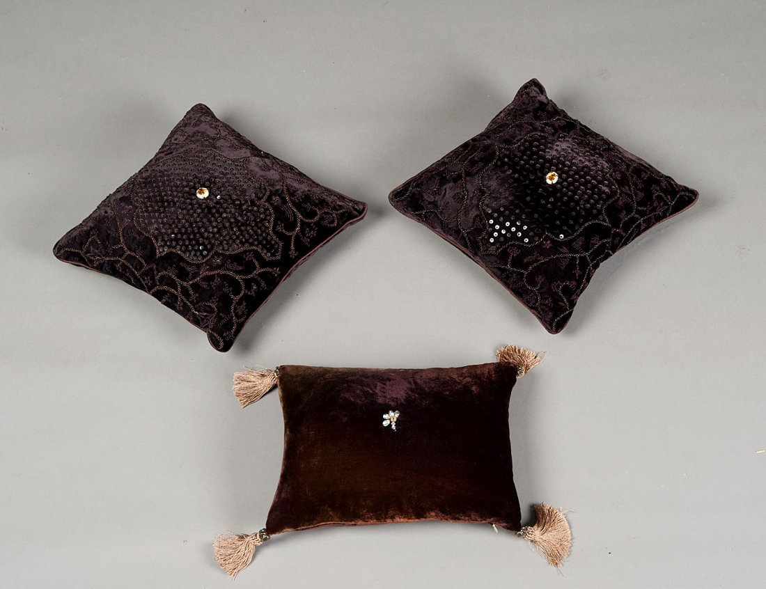 """17: GROUP OF THREE BROWN VELVET PILLOWS WITH """"JEWELS"""""""