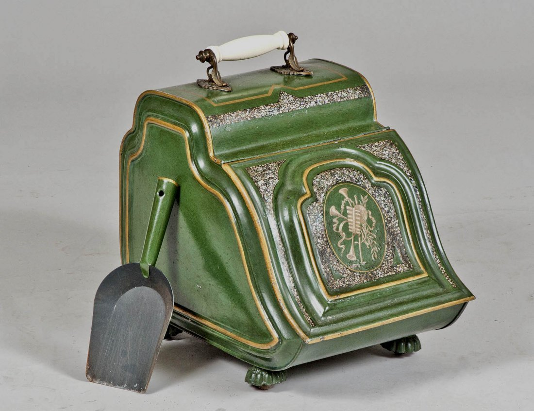 19: VICTORIAN PAINTED AND MOTHER OF PEARL INLAID TOLE C