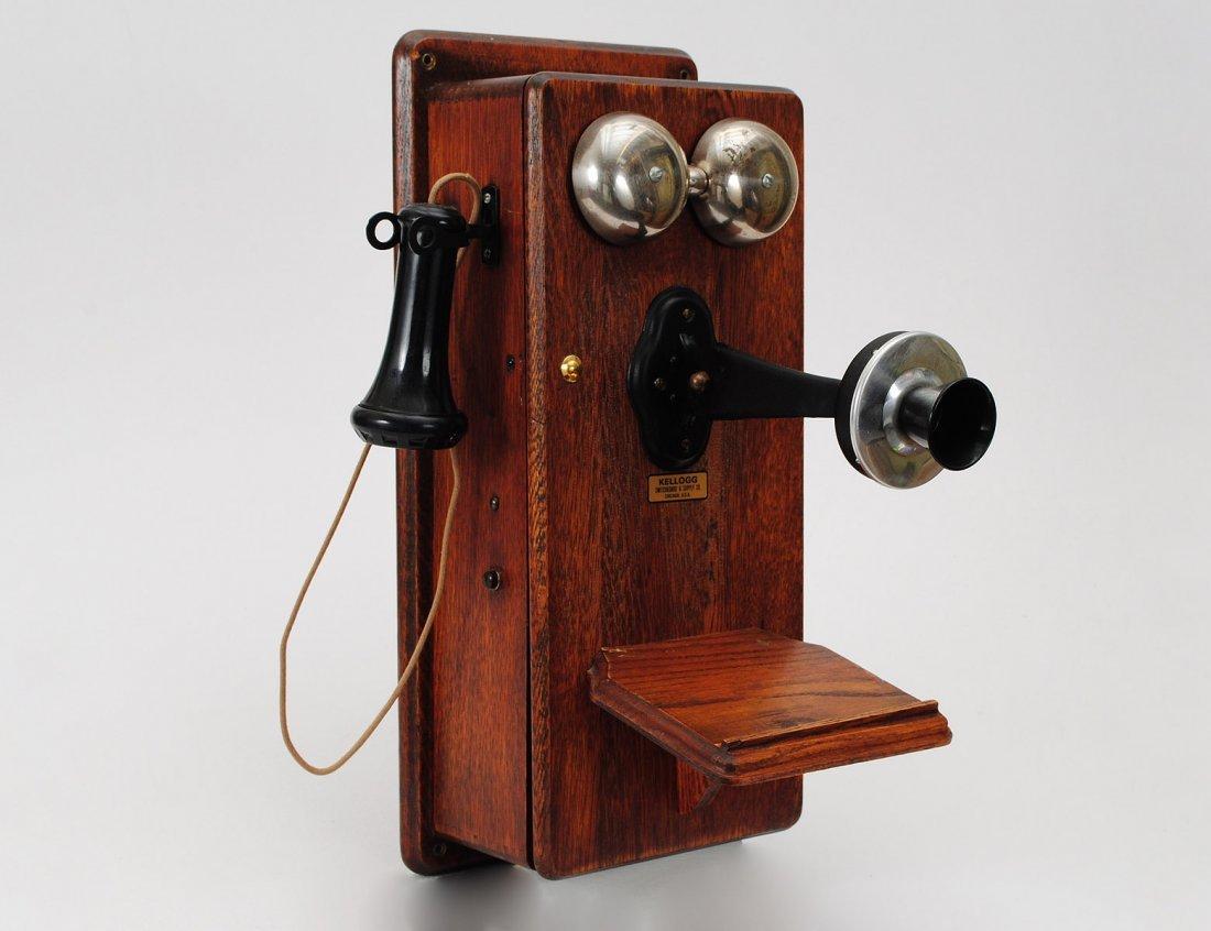21: VINTAGE OAK WALL CRANK TELEPHONE