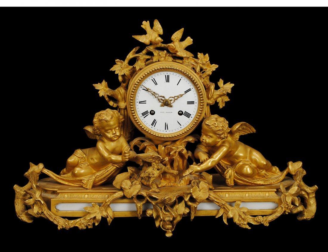 145: LOUIS XV STYLE GILT BRONZE MANTEL CLOCK
