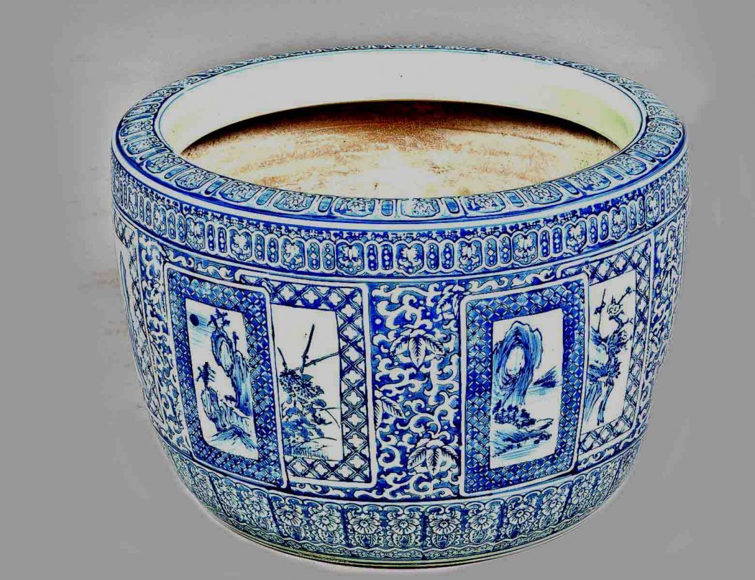 317: BLUE AND WHITE PORCELAIN JARDINIERE