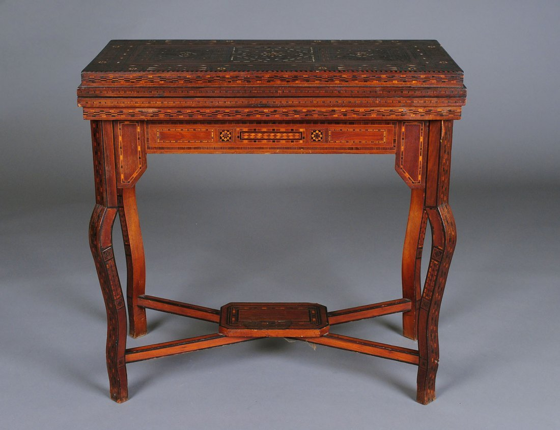 318: MOTHER-OF-PEARL AND IVORY INLAID GAME TABLE