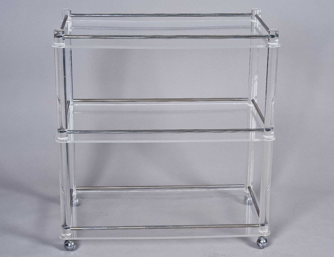 19: LUCITE AND METAL SERVING CART