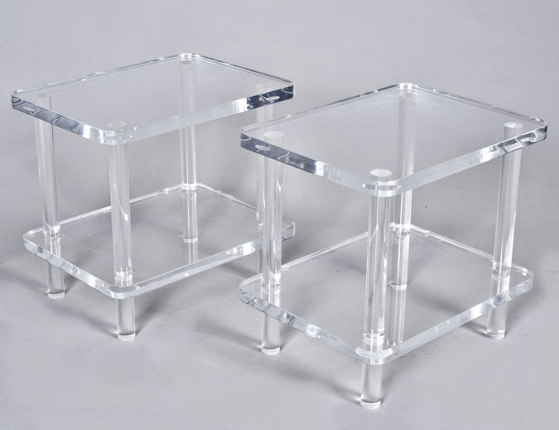 20: PAIR OF LUCITE LOW STANDS