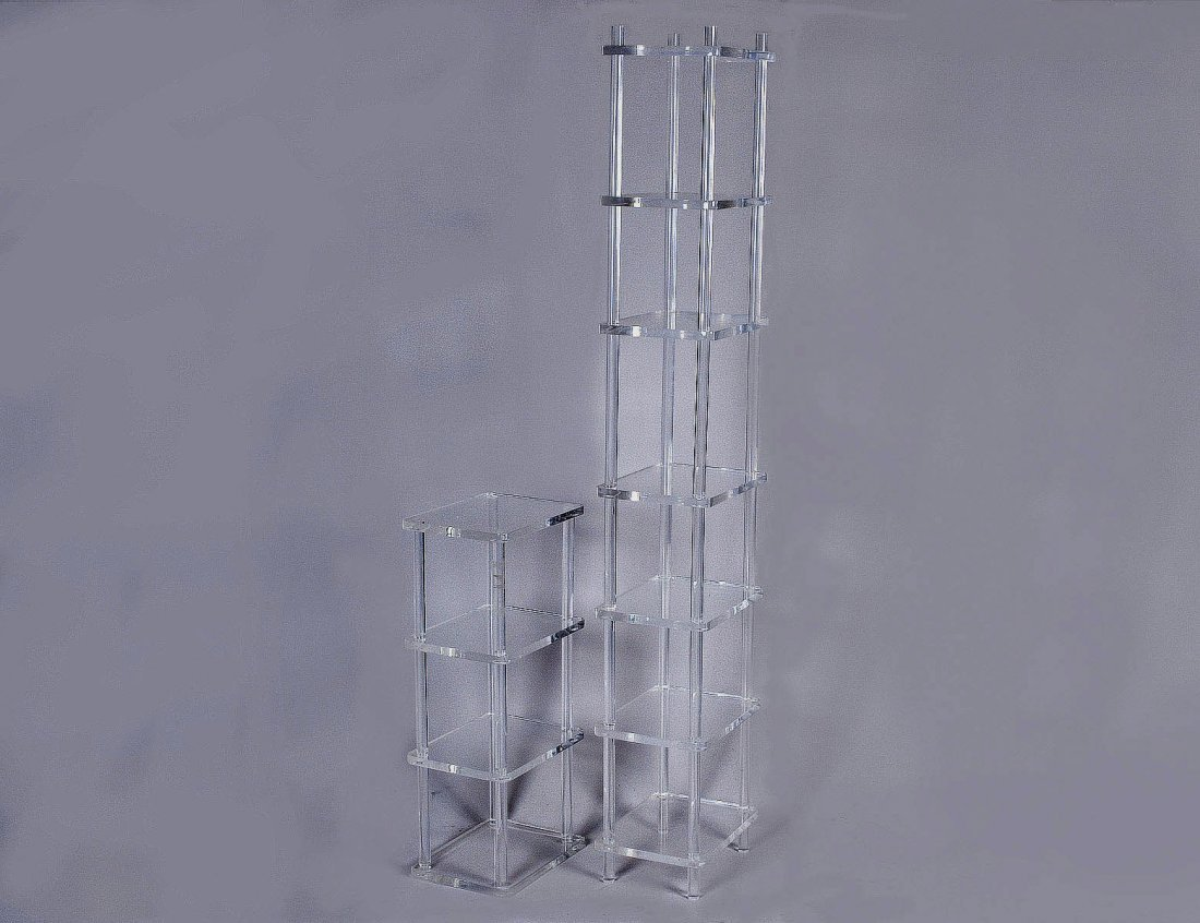 21: GROUP OF TWO LUCITE STANDS