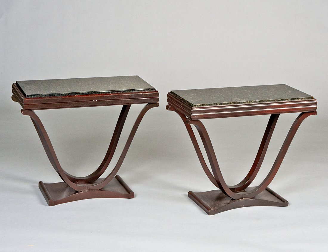 23: ART DECO PAINTED MARBLE TOP CONSOLE TABLE