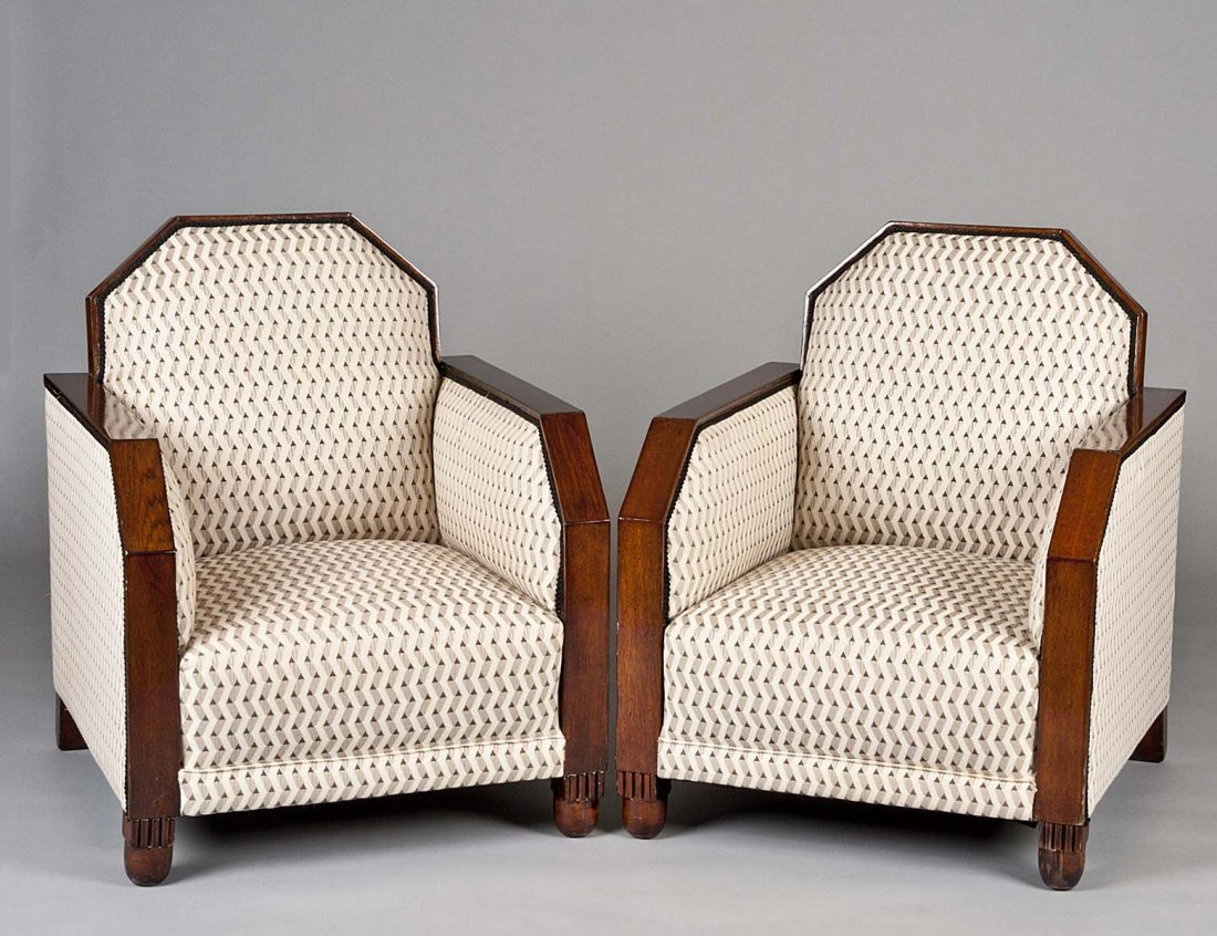 24: PAIR OF ART DECO ARM CHAIRS