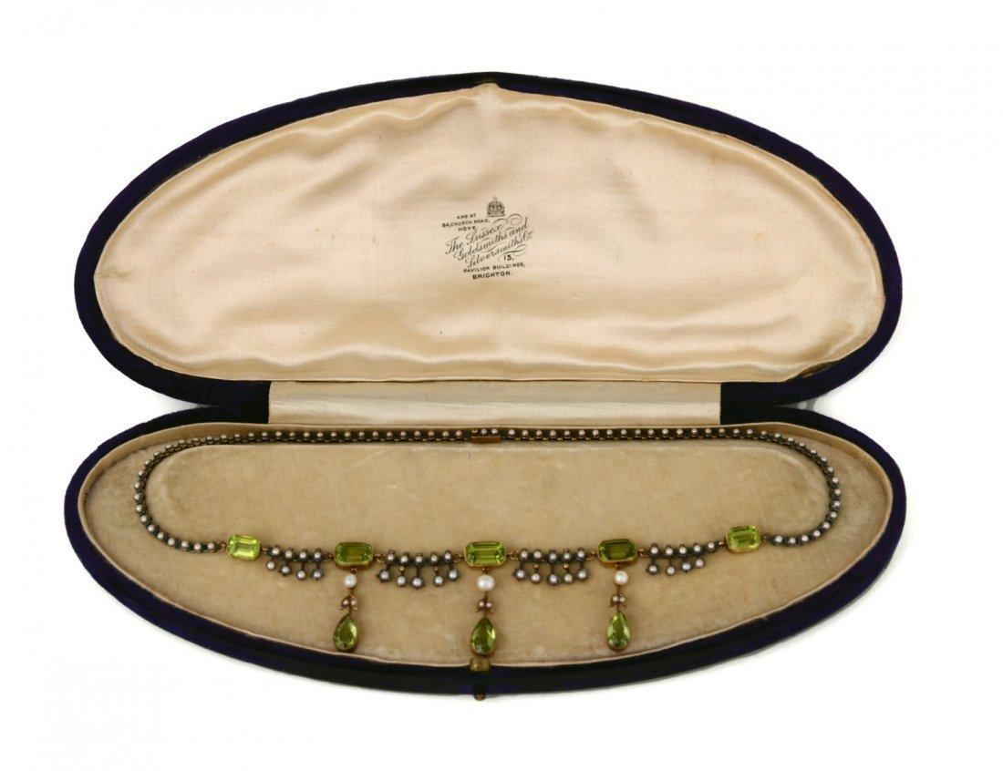 59: VICTORIAN SILVER, GOLD, PERIDOT AND NATURAL SEED PE