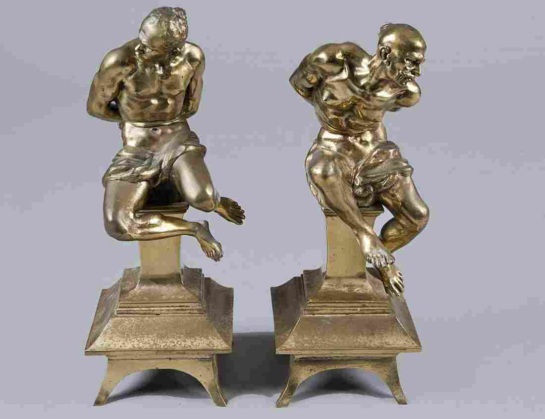 98: PAIR OF GILT BRONZE FIGURAL CHENETS