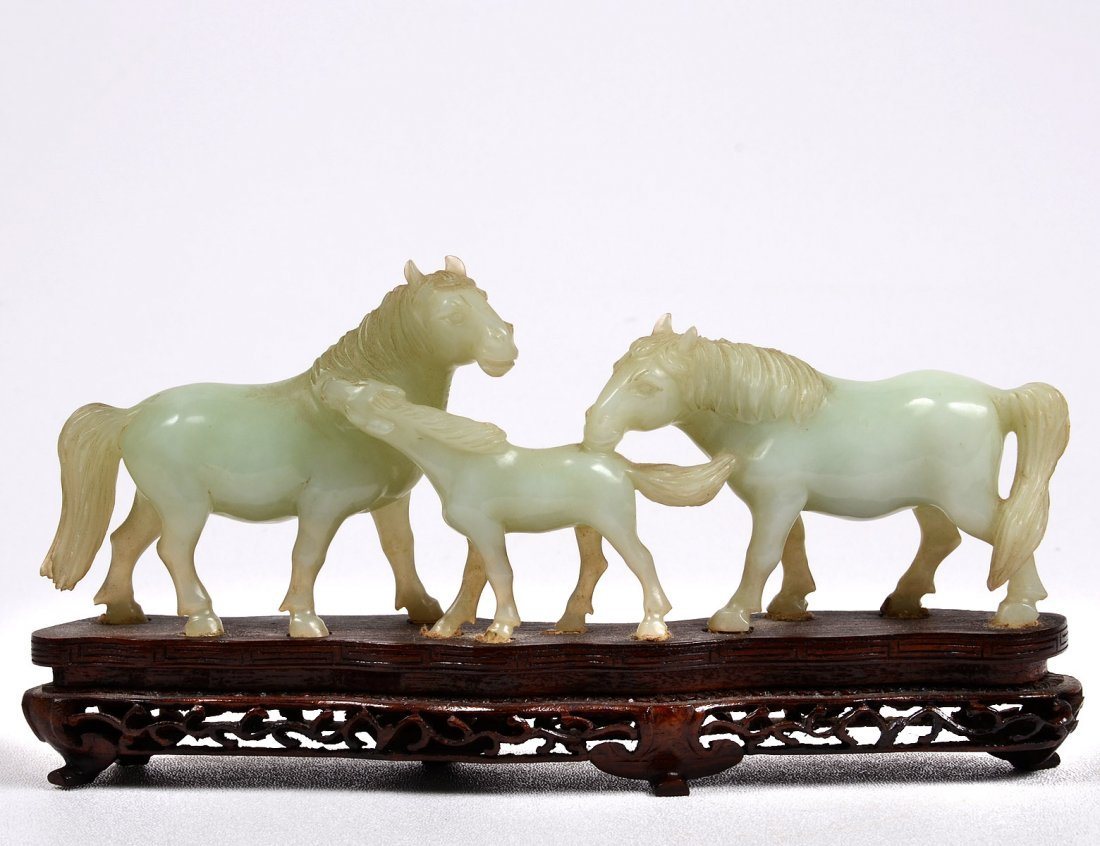 323: CARVED JADE GROUP OF HORSES
