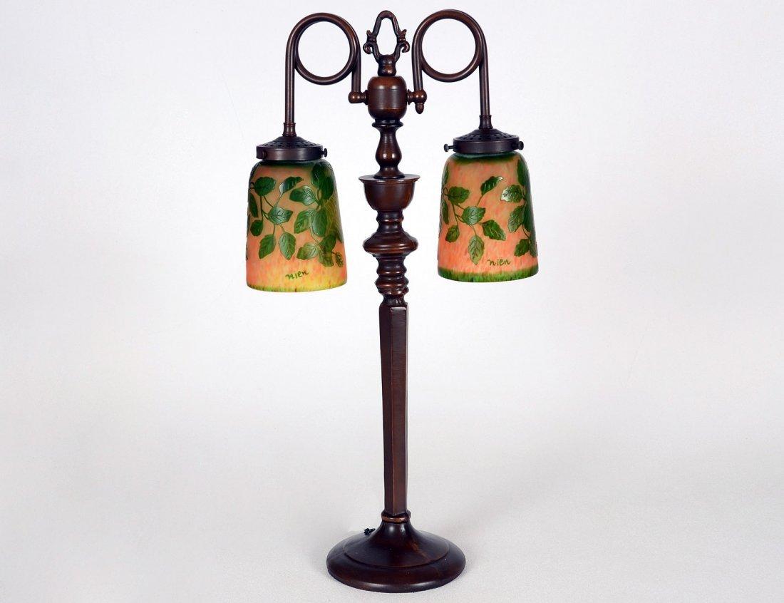 12: CAMEO GLASS AND METAL TWO LIGHT LAMP