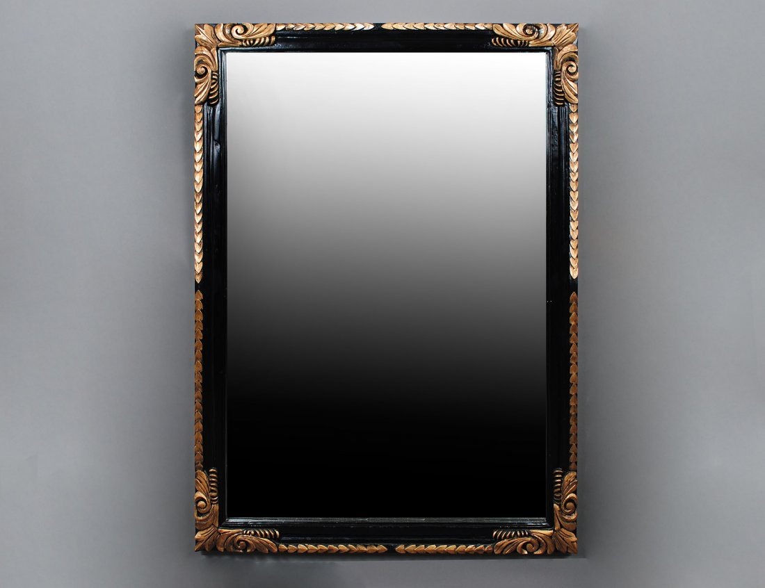 24: CARVED, PAINTED AND GILT MIRROR