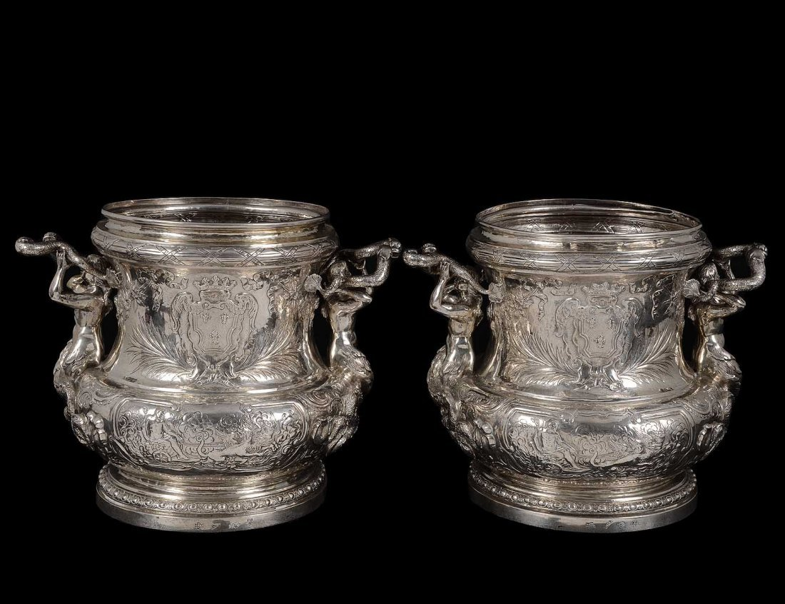 256: IMPRESSIVE PAIR OF CONTINENTAL SILVER WINE COOLERS
