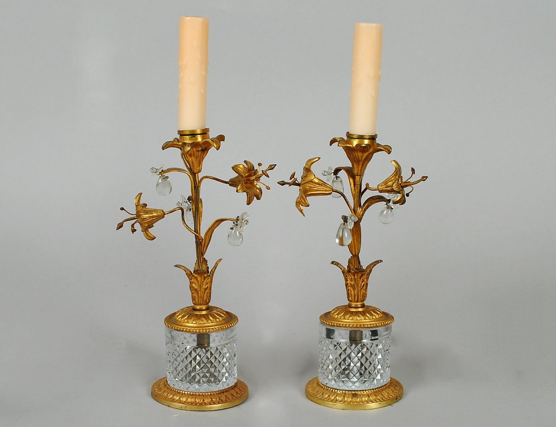8: PAIR OF GILT BRASS AND CUT GLASS BOUDOIR LAMPS