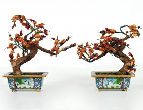 PAIR OF CLOISONNE ENAMEL AND AGATE TREES