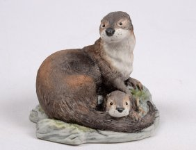 "14: BOEHM PORCELAIN GROUP ""OTTER WITH CUB"""