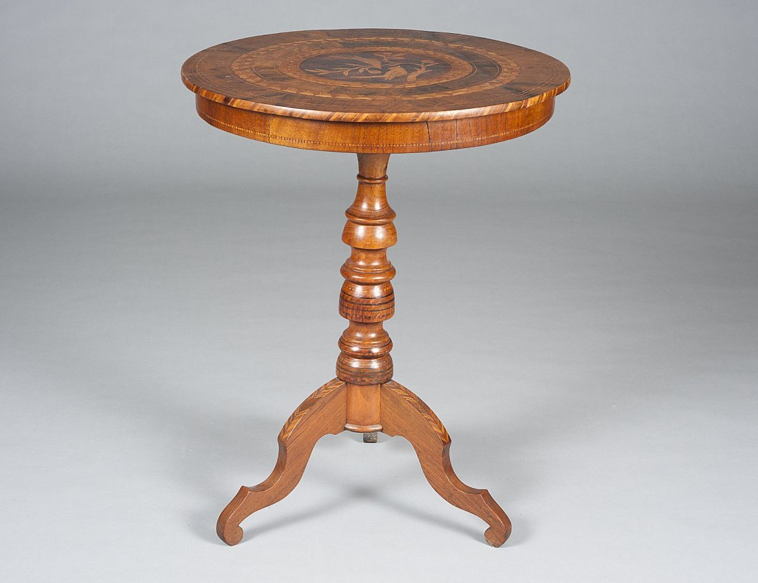 17: INLAID TILT-TOP TRIPOD TABLE