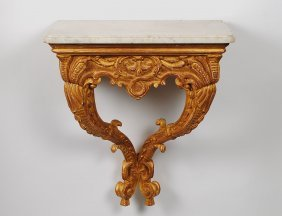 CARVED AND GILTWOOD CONSOLE TABLE