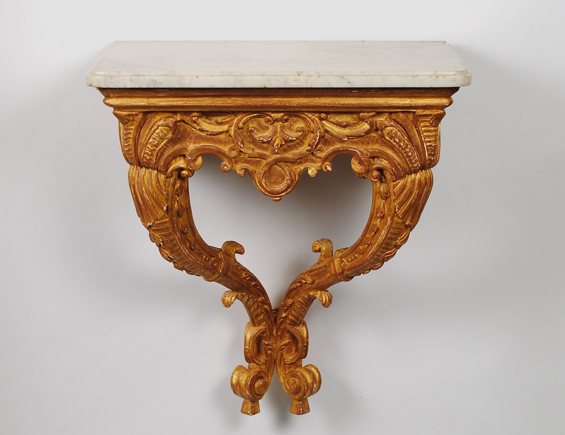 19: CARVED AND GILTWOOD CONSOLE TABLE