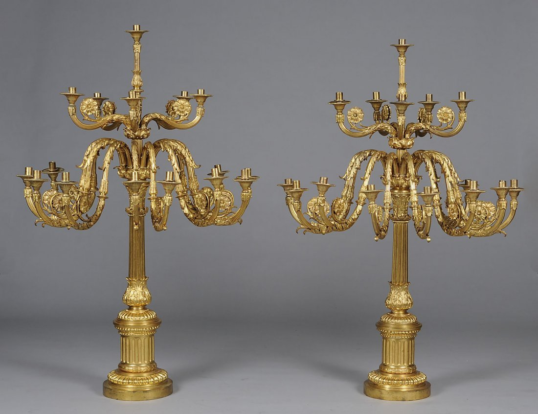 273: PAIR OF MASSIVE LOUIS XVI STYLE SIXTEEN LIGHT GILT