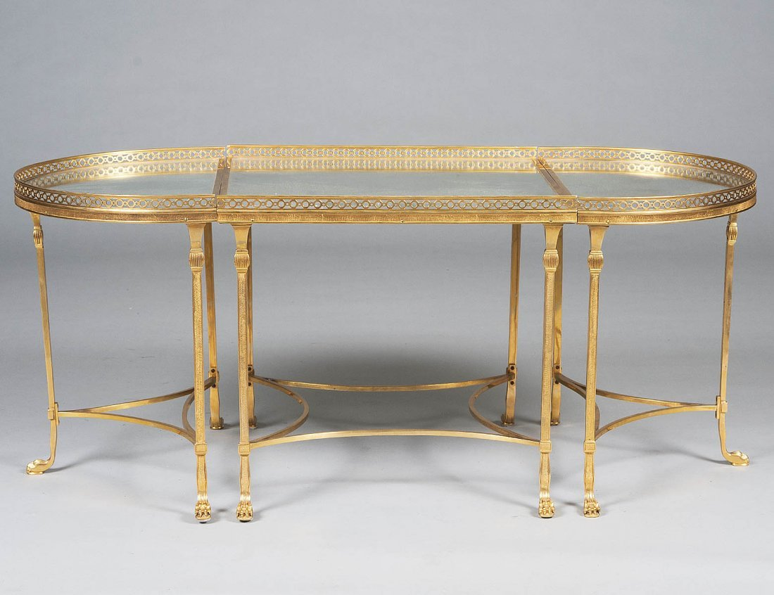 310: THREE PART BRASS LOW TABLE