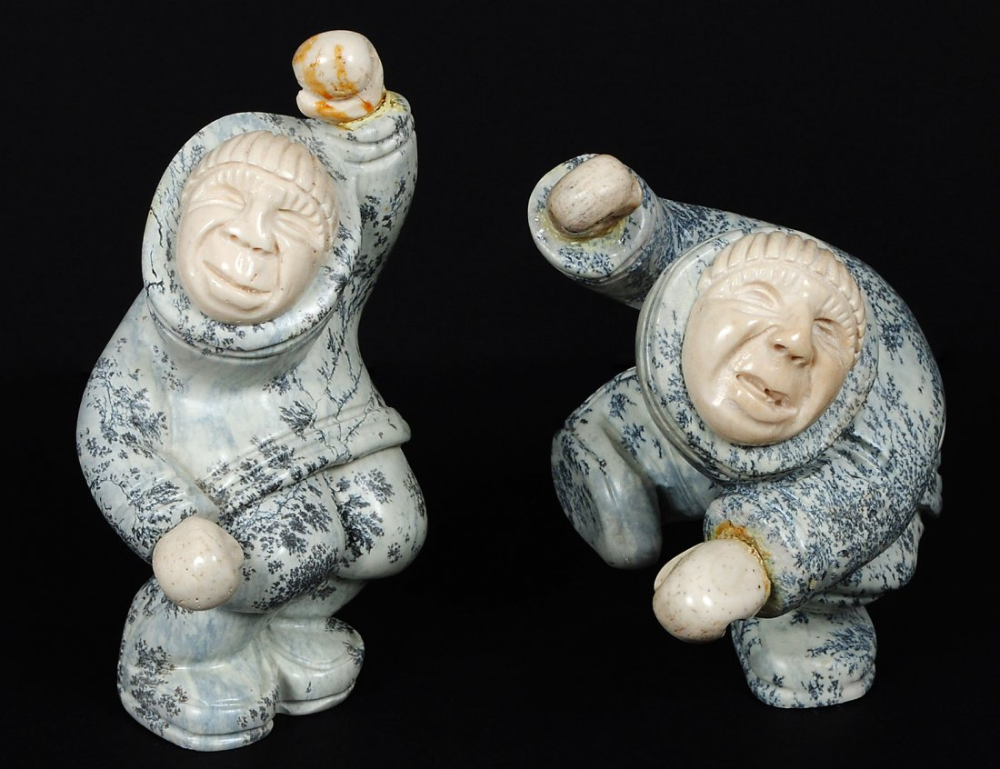 PAIR OF STONE AND IVORY CARVED FIGURES