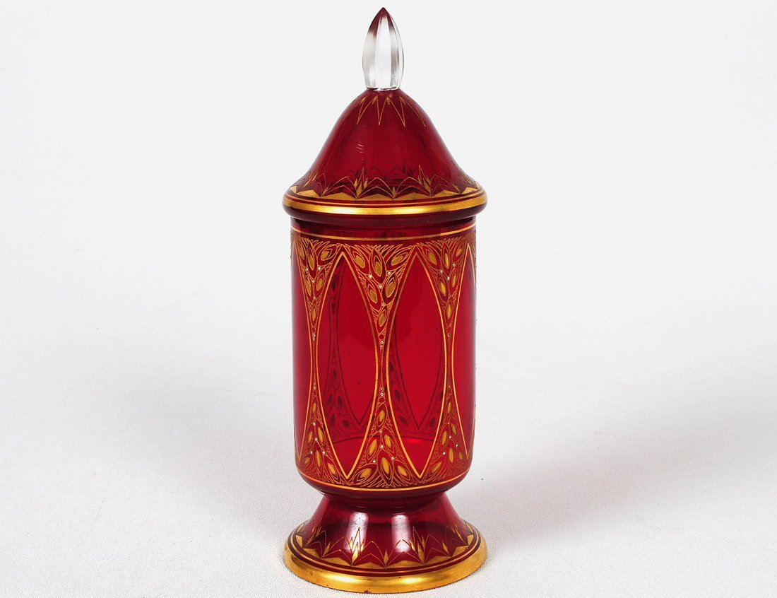 GILT ENAMELED RUBY GLASS CUP AND COVER
