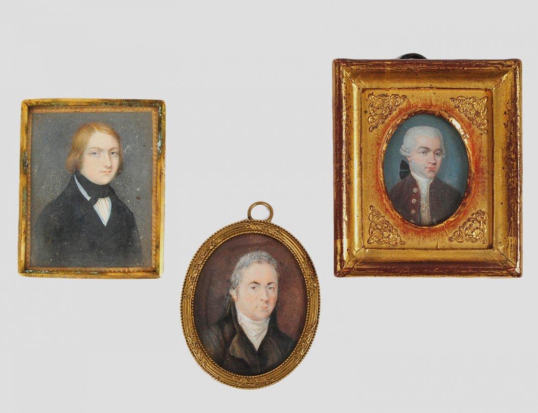 GROUP OF THREE MINIATURE PAINTINGS ON IVORY