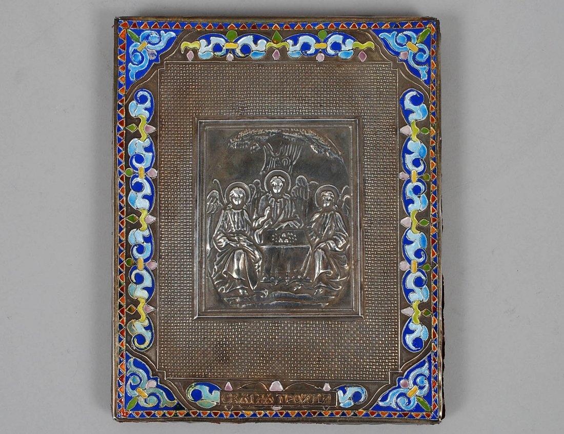 RUSSIAN SILVER GILT AND ENAMEL ICON OF THREE ANGELS