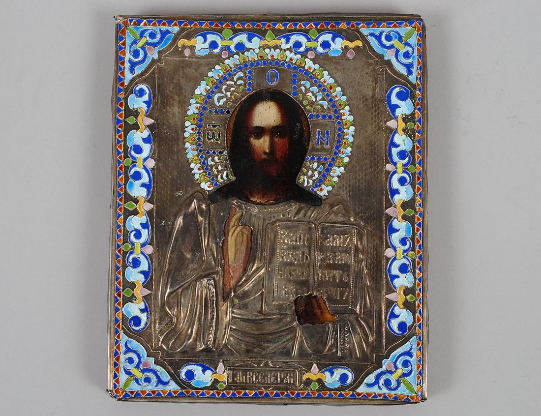 RUSSIAN SILVER GILT AND ENAMEL ICON OF CHRIST PANTOCRAT