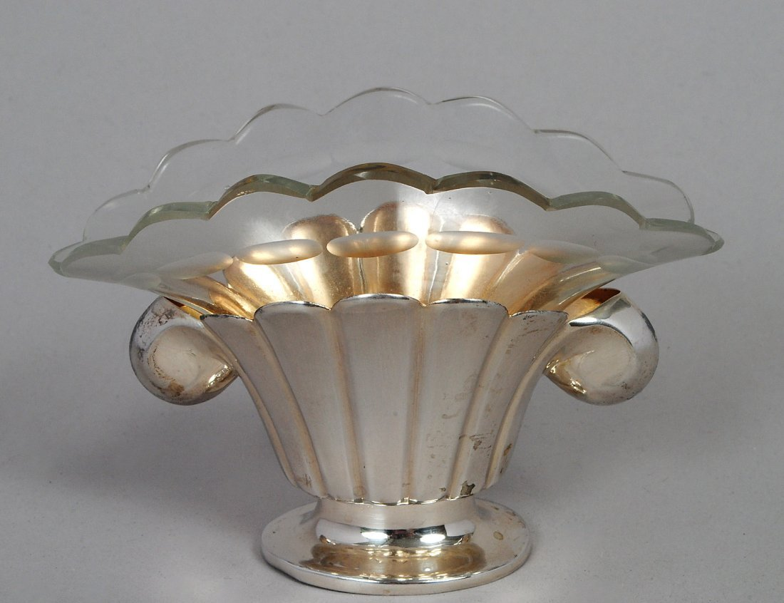 CONTINENTAL SILVER AND GLASS BUD VASE