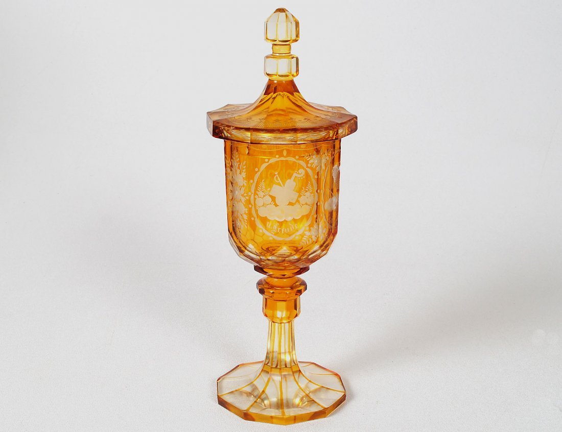 AMBER TINTED GLASS POKOL AND COVER